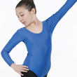 Childrens Lycra Long Sleeved Plain Front Leotard